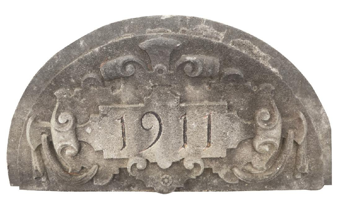 Antique cut stone arched panel dated 1911