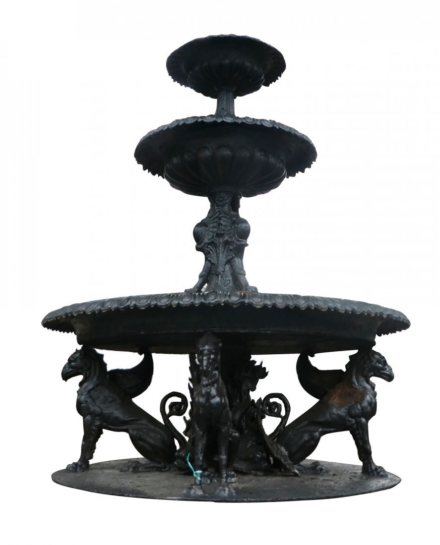 Cast iron 3-tier fountain with winged griffins