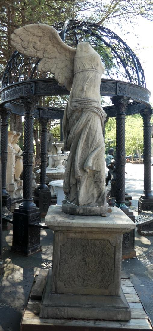 Cast Winged Victory statue on pedestal - 2