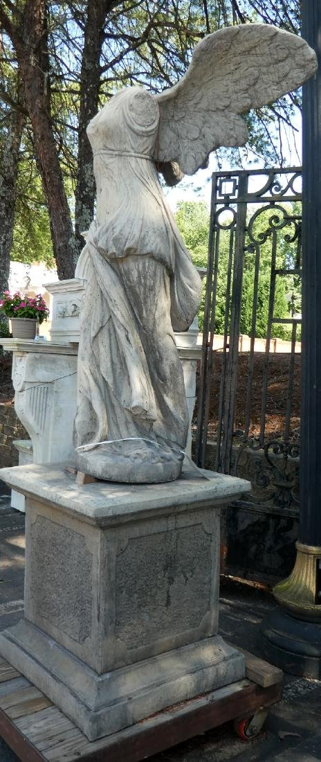 Cast Winged Victory statue on pedestal - 3