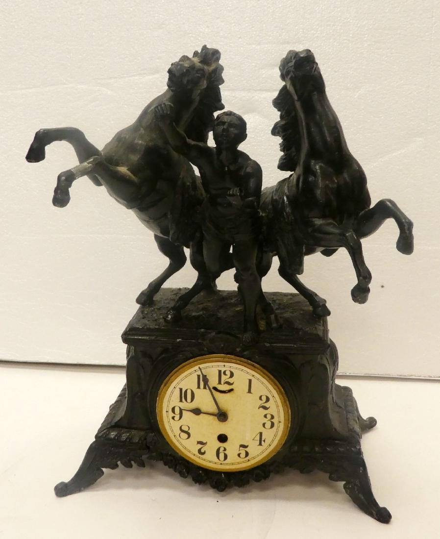 French painted mantel clock 2 horses