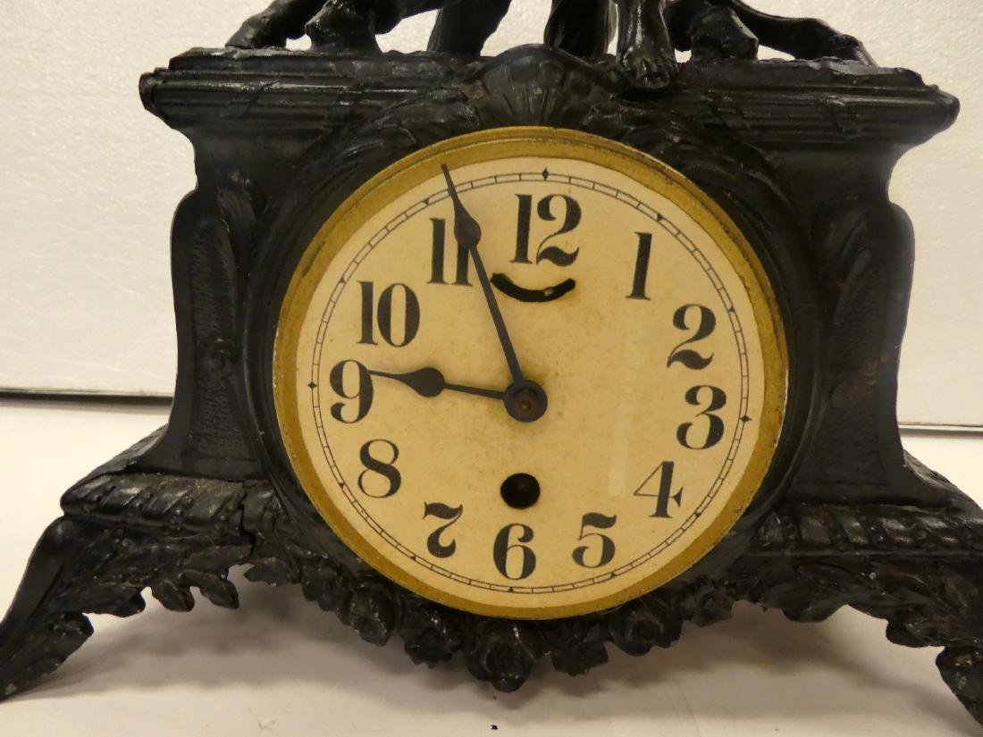 French painted mantel clock 2 horses - 3