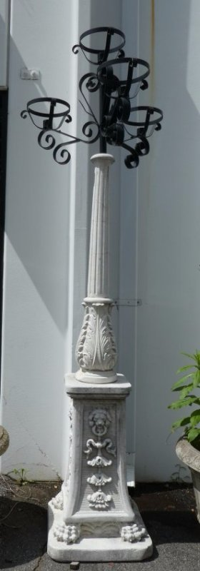 Pair of Italian cast stone 4-arm streetlight