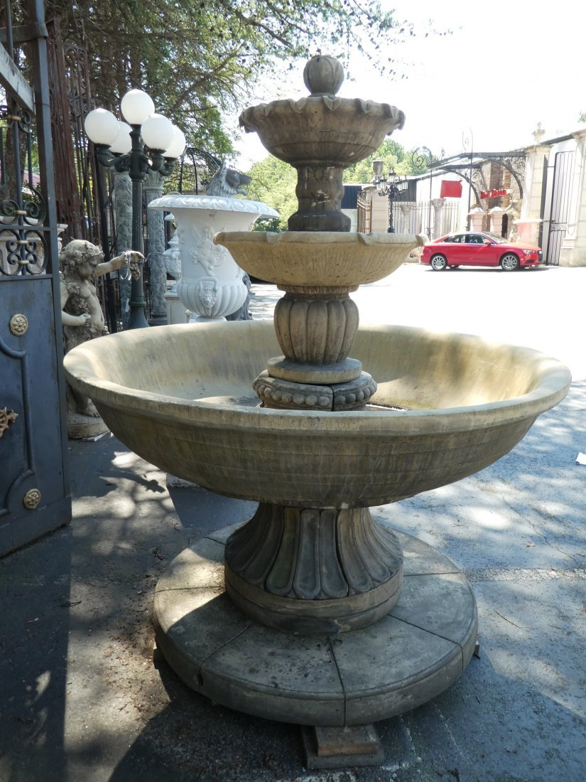 Cast stone 3-tier garden fountain - 2