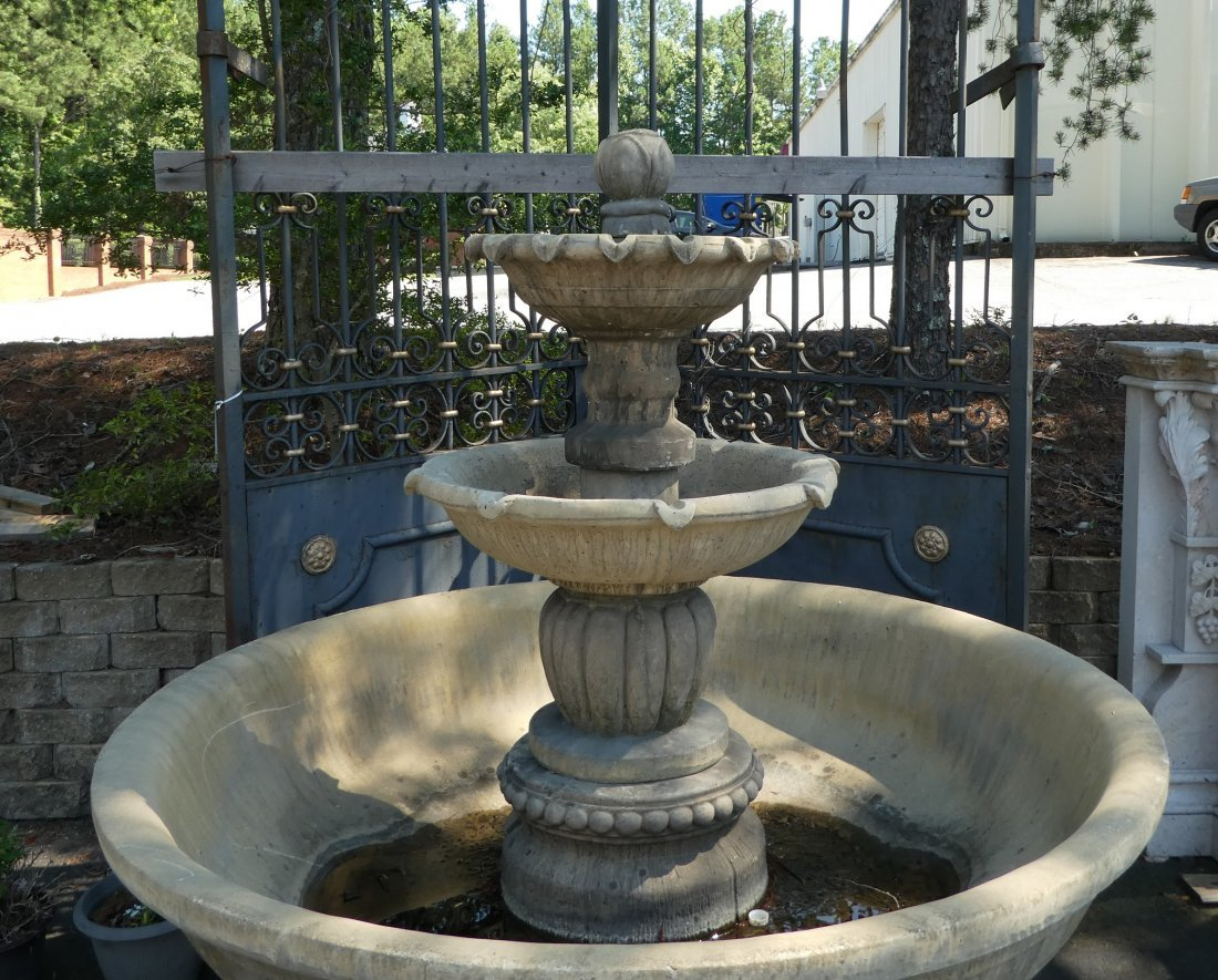 Cast stone 3-tier garden fountain - 4