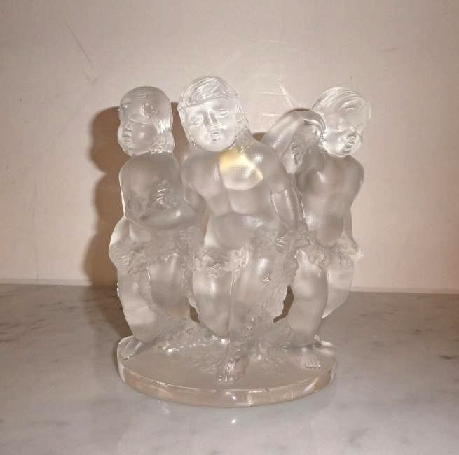 Lalique crystal Luxembourg cherub figurine