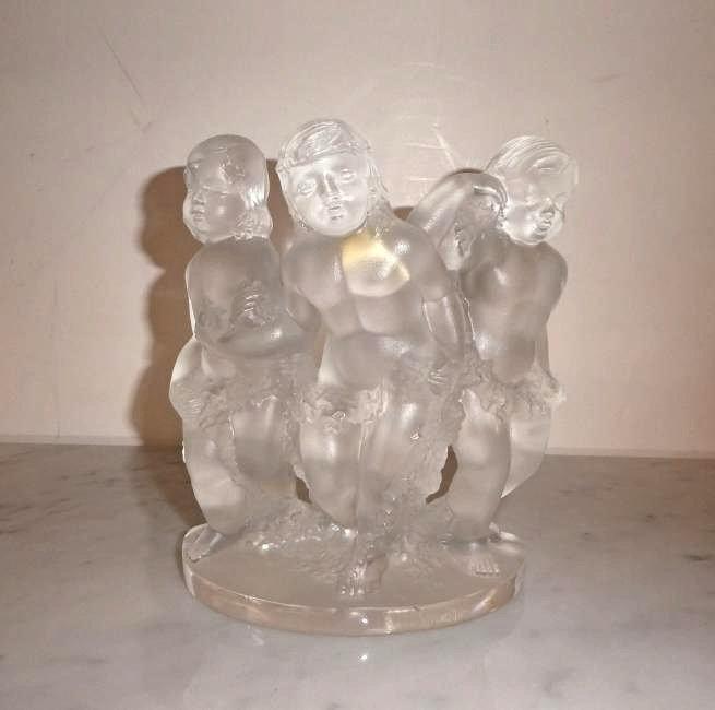 Lalique crystal Luxembourg cherub figurine