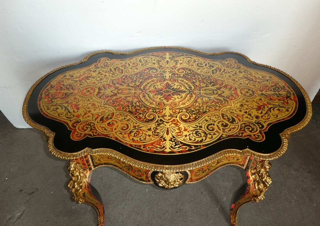 Boulle style turtle back table with bronze mounts - 2