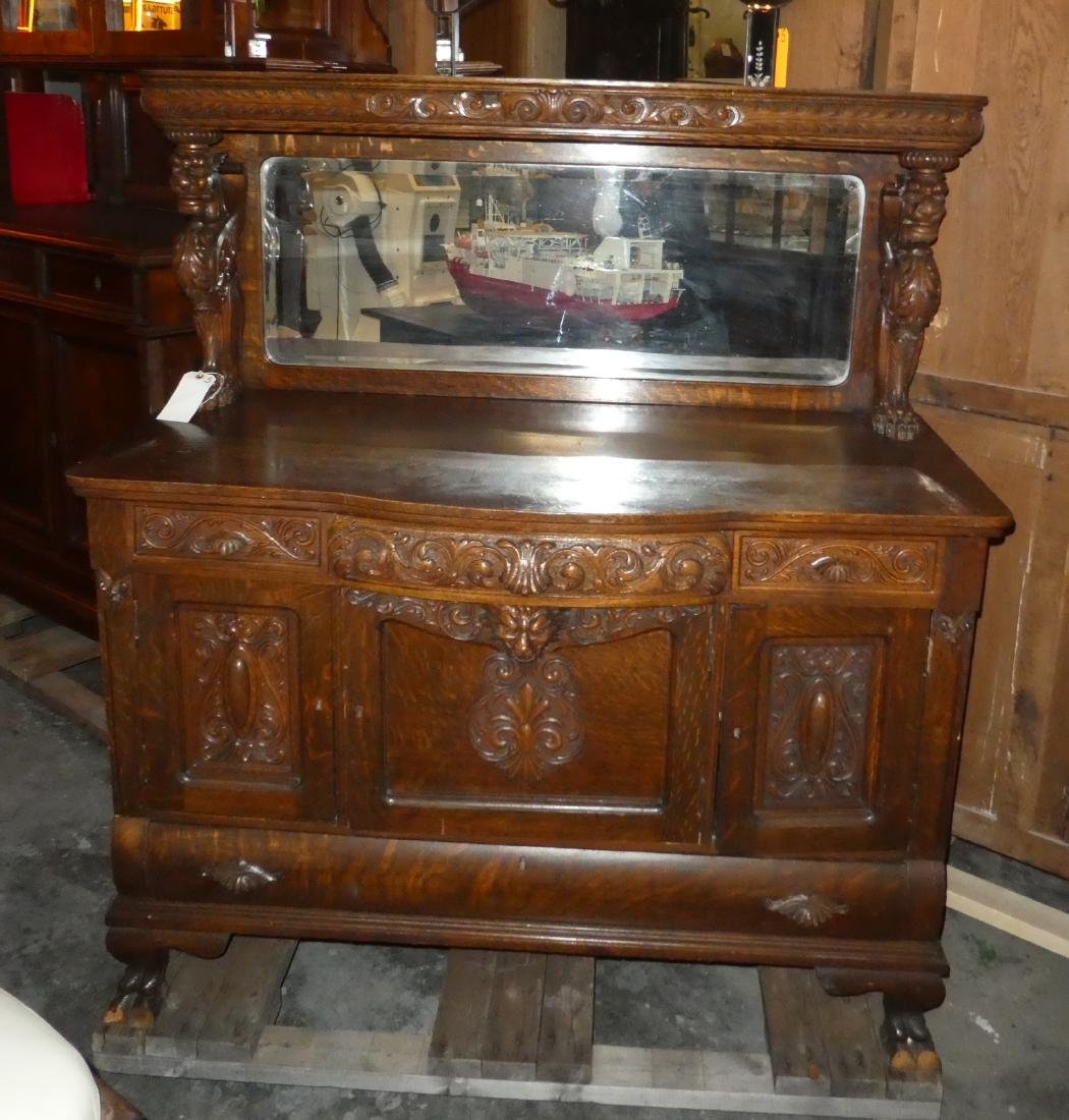 American oak sideboard with griffins
