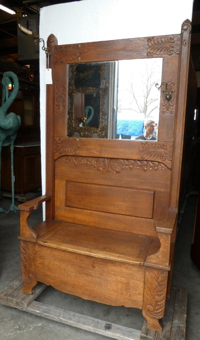 American oak hall  bench with mirror