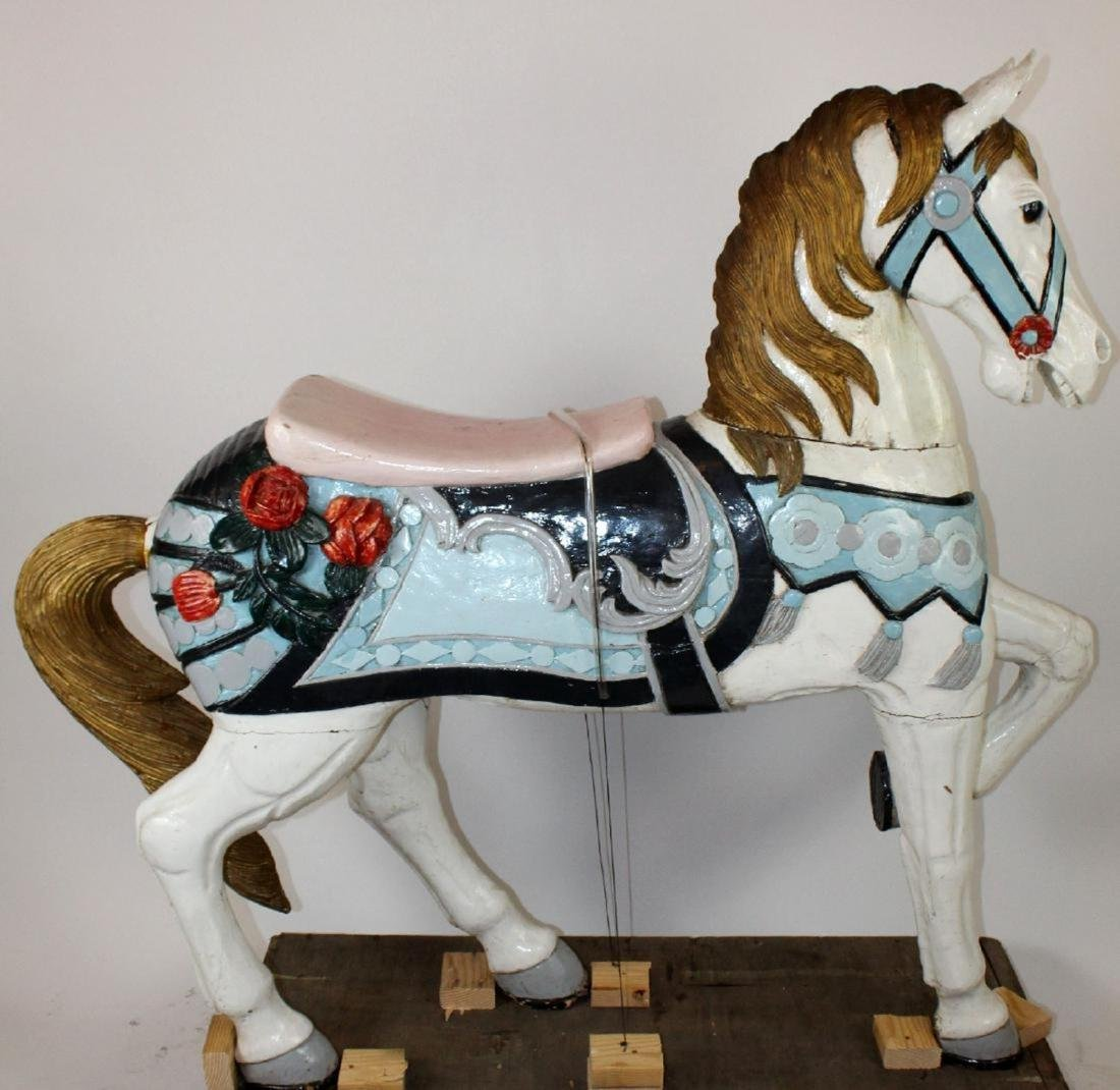 Hand carved and painted wooden carousel horse