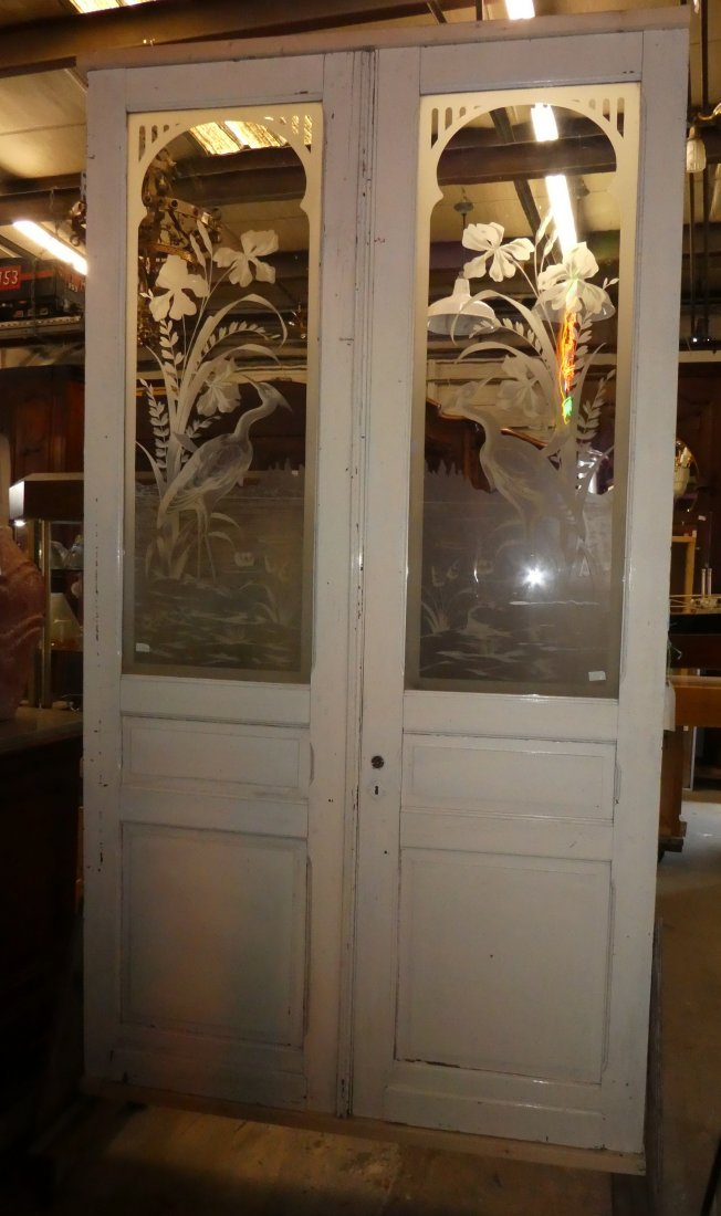 Pair pine doors with etched glass