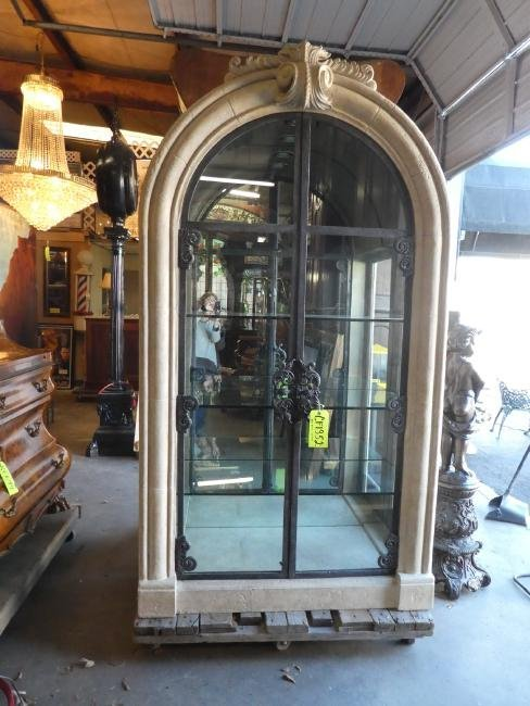 Gothic style arch top faux stone & iron vitrine