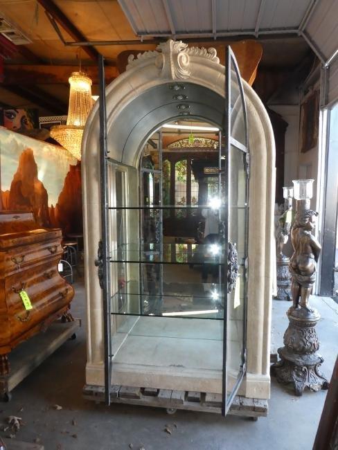 Gothic style arch top faux stone & iron vitrine - 2