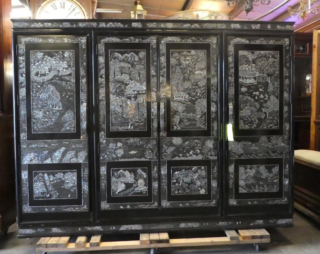 Chinese black lacquer wardrobe with mother of pearl