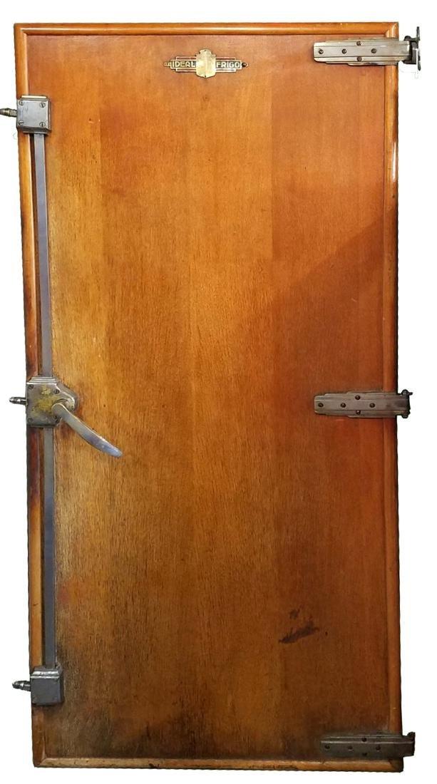 Antique cooler door with hinges
