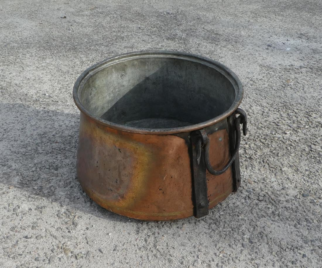 Antique hand hammered copper pot