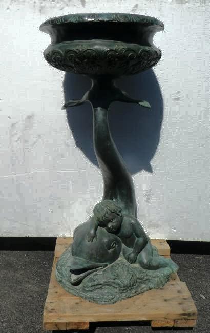 Verdigris bronze jardiniere with dolphin & cherub