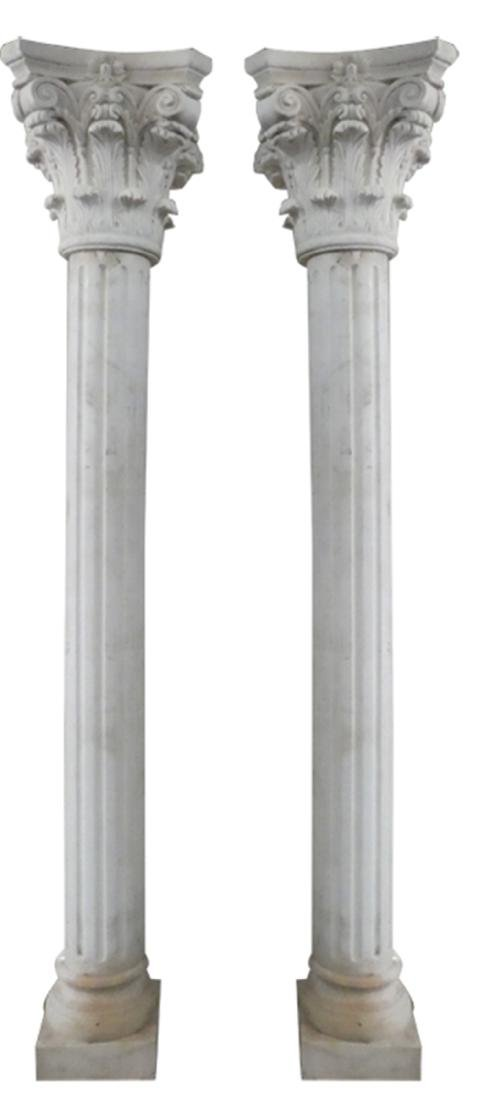 Pair fluted marble columns with Corinthian capitals