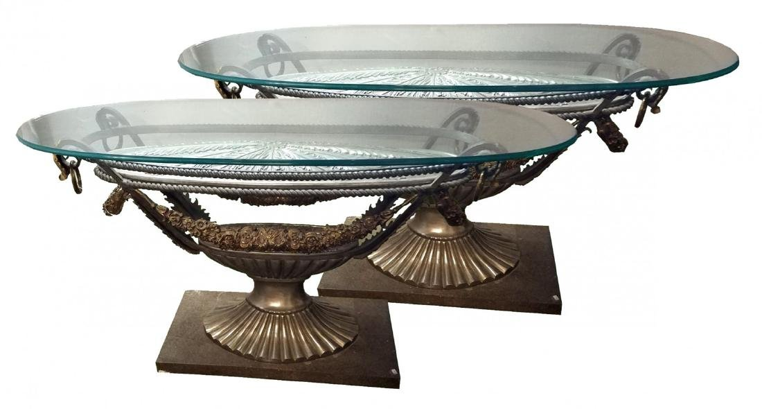 Pair classical silver over bronze urn form tables