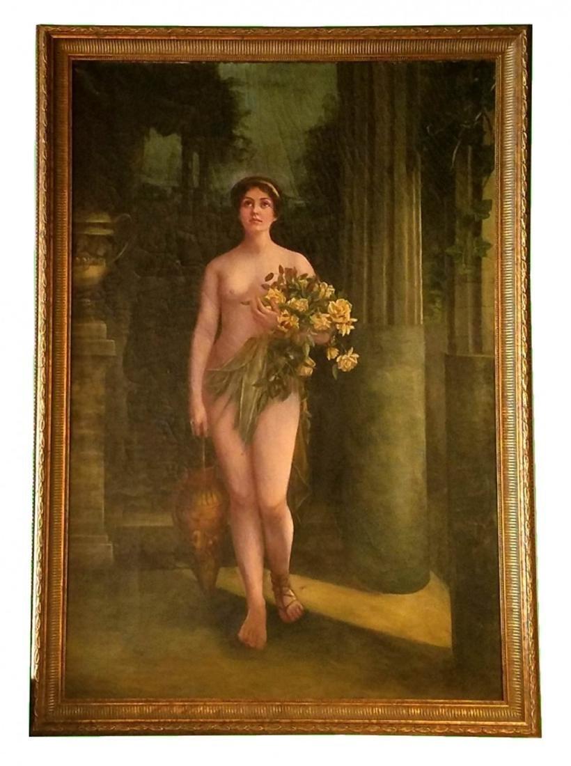 Antique oil on canvas barroom nude