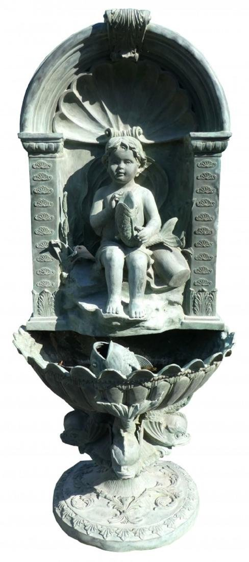 Verdigris bronze wall fountain with cherub with niche