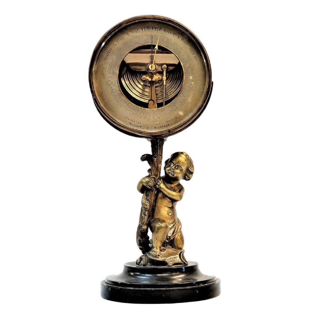 French bronze cherub holding barometer