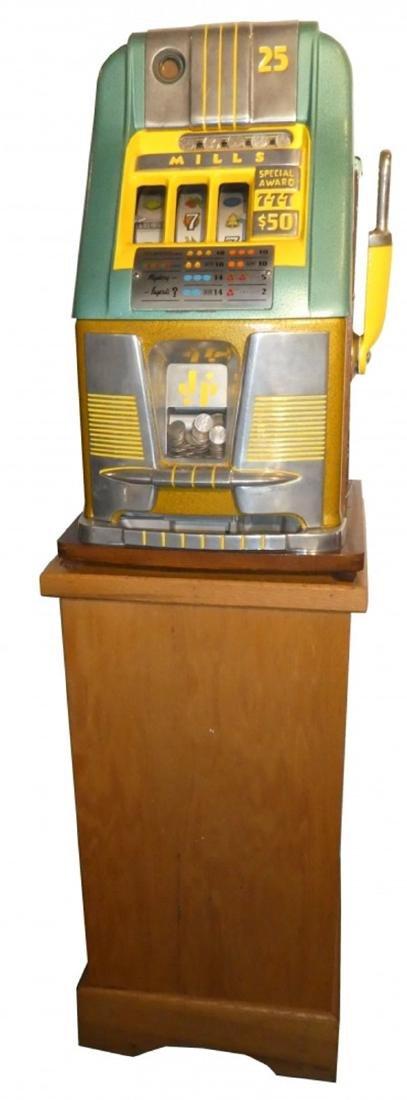 Restored Mills 25cent hightop slot machine on stand