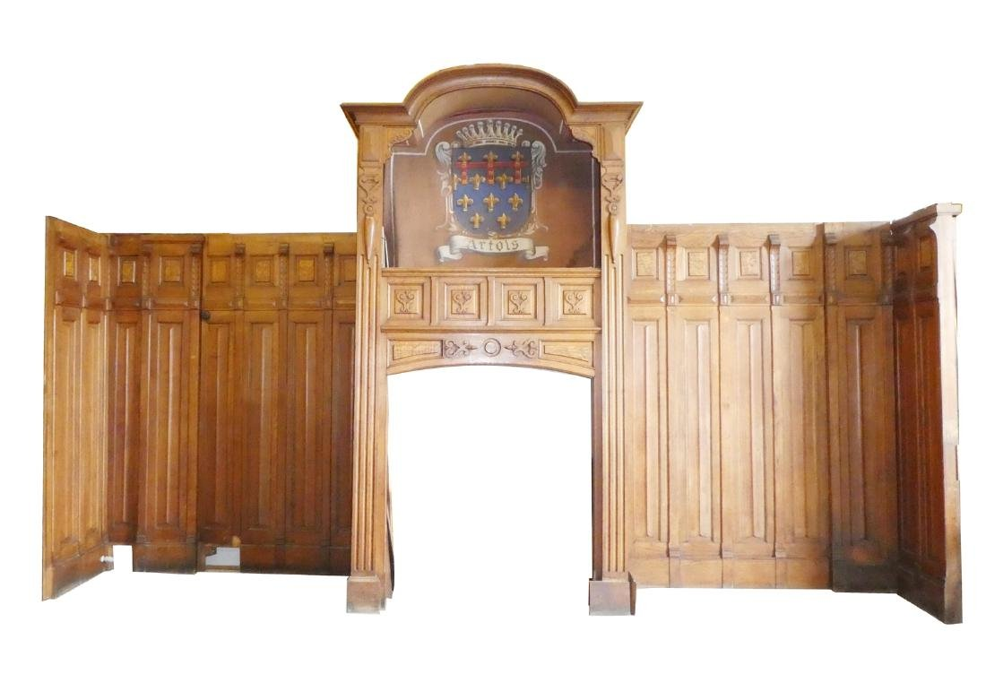 Belgian fireplace mantel in oak with wainscotting