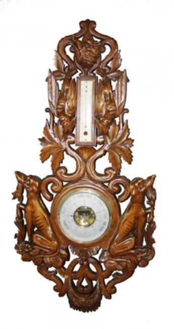 French hunt motif carved walnut barometer