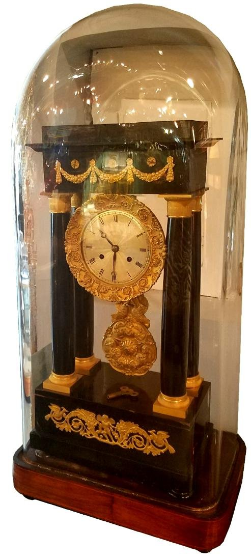French Empire portico clock