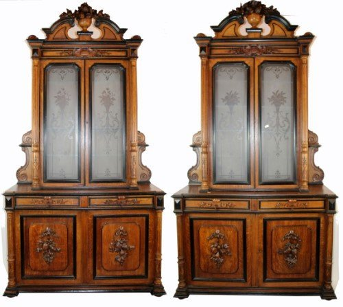 Pair French carved buffets with etched glass