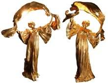 Pair gilt bronze Loie Fuller lamps After Leonard