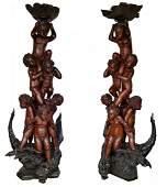 Pair Italian carved wood cherub sculptures