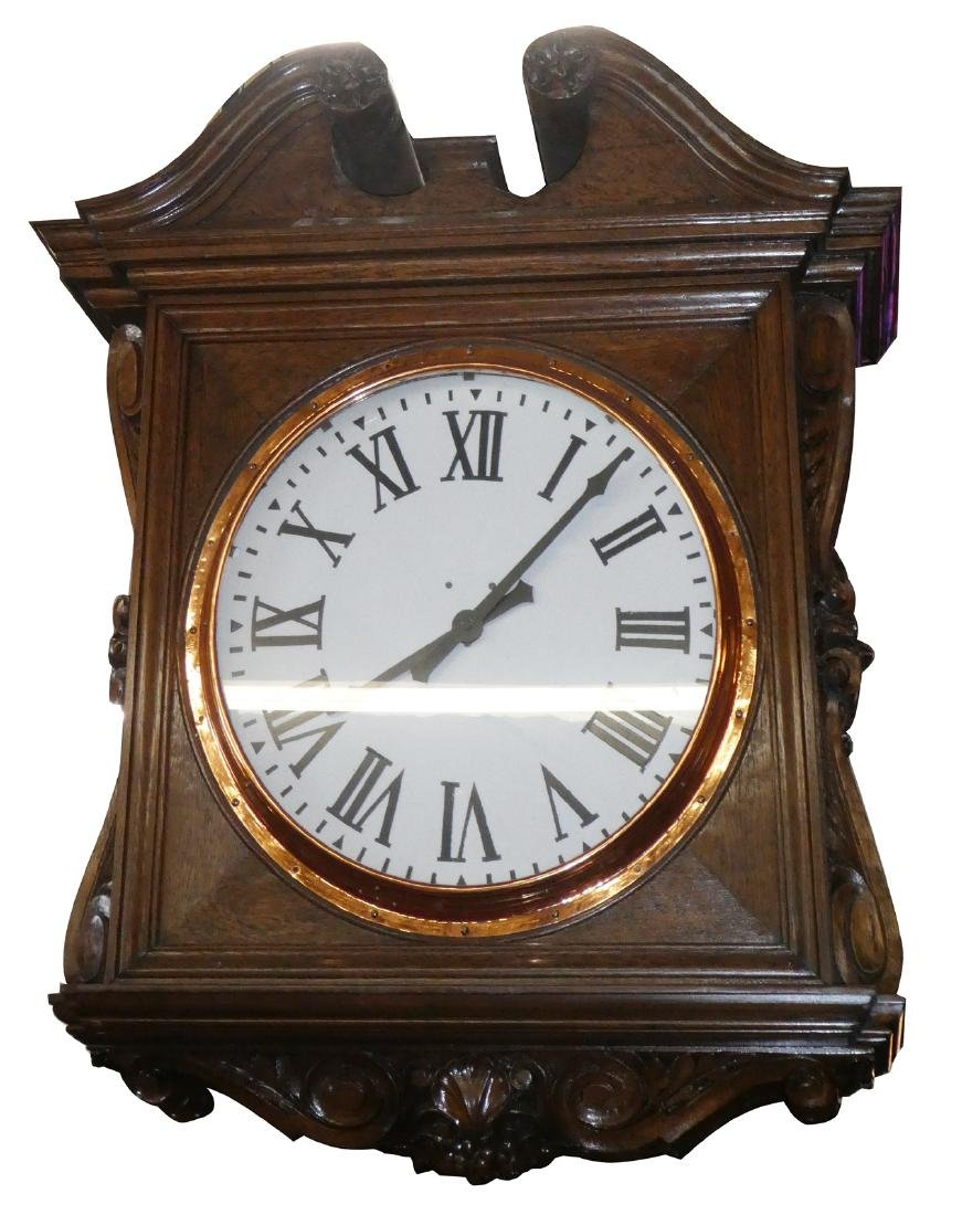 Antique double sided oak train station clock
