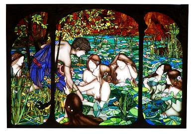Stained, leaded and painted glass figural window