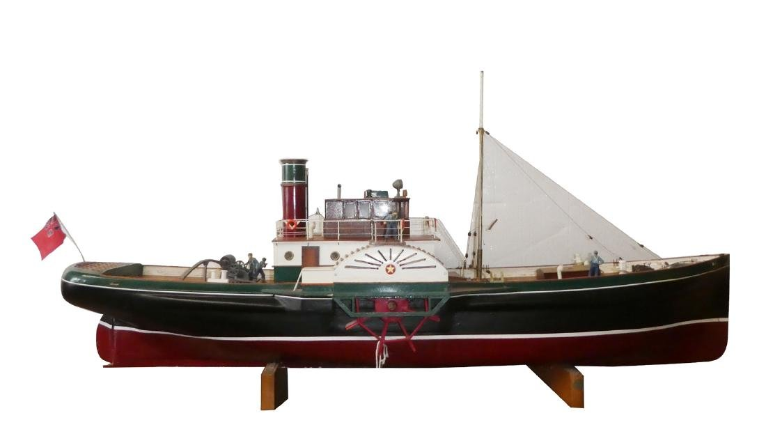 Steam side paddle tugboat model of Tobermorey