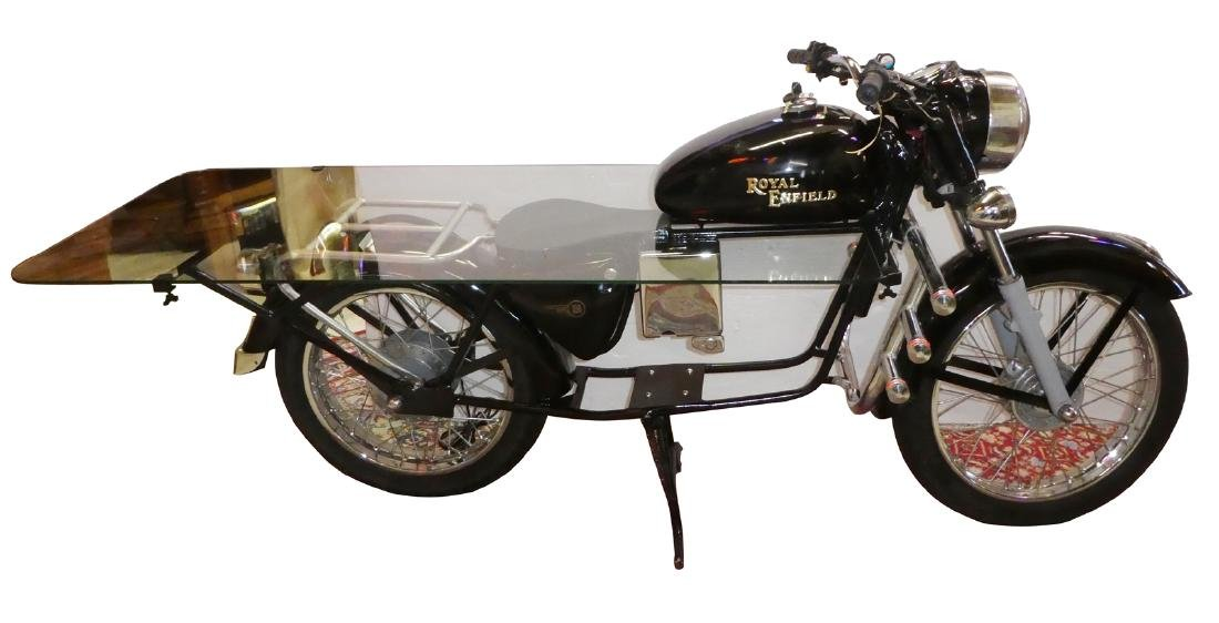 English Royal Enfield motorcycle mounted as desk