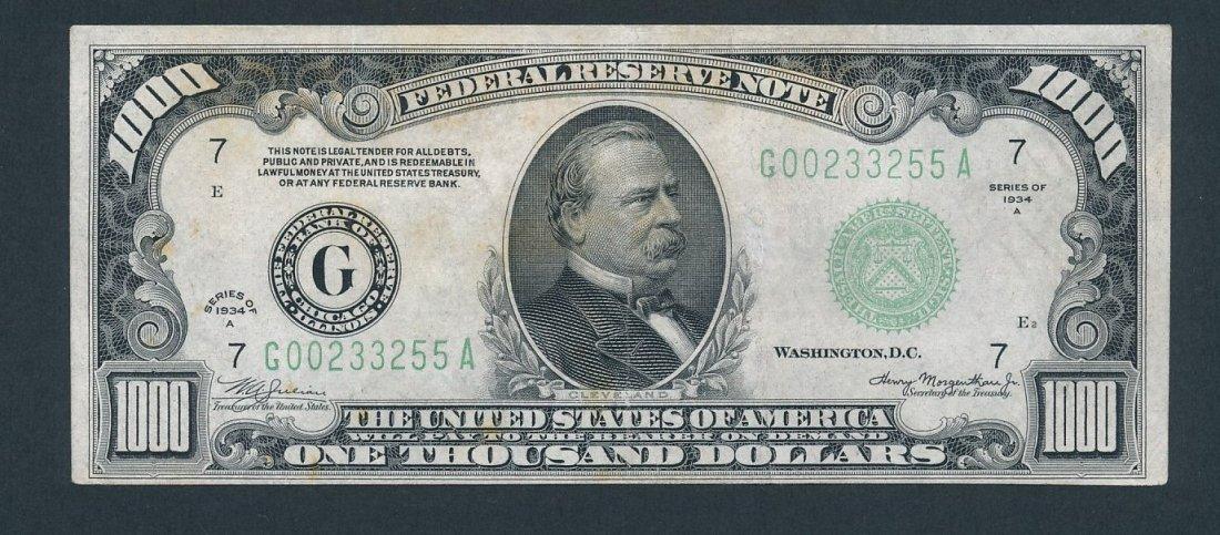 Series 1934 $1000 bill