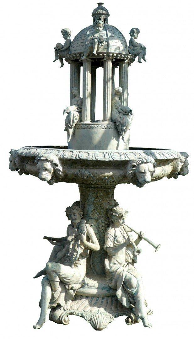 Verdigris bronze figural fountain group