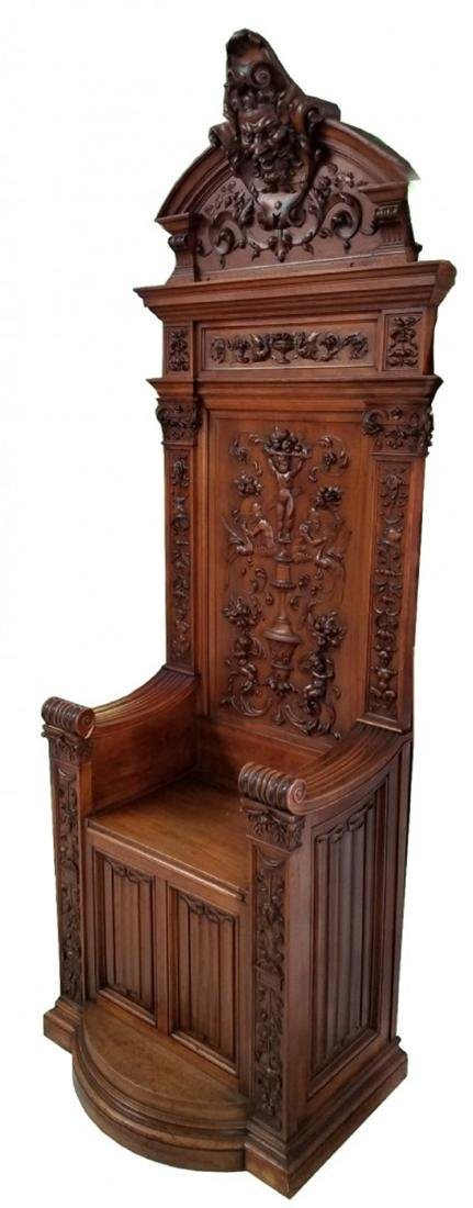 Antique French carved walnut throne chair