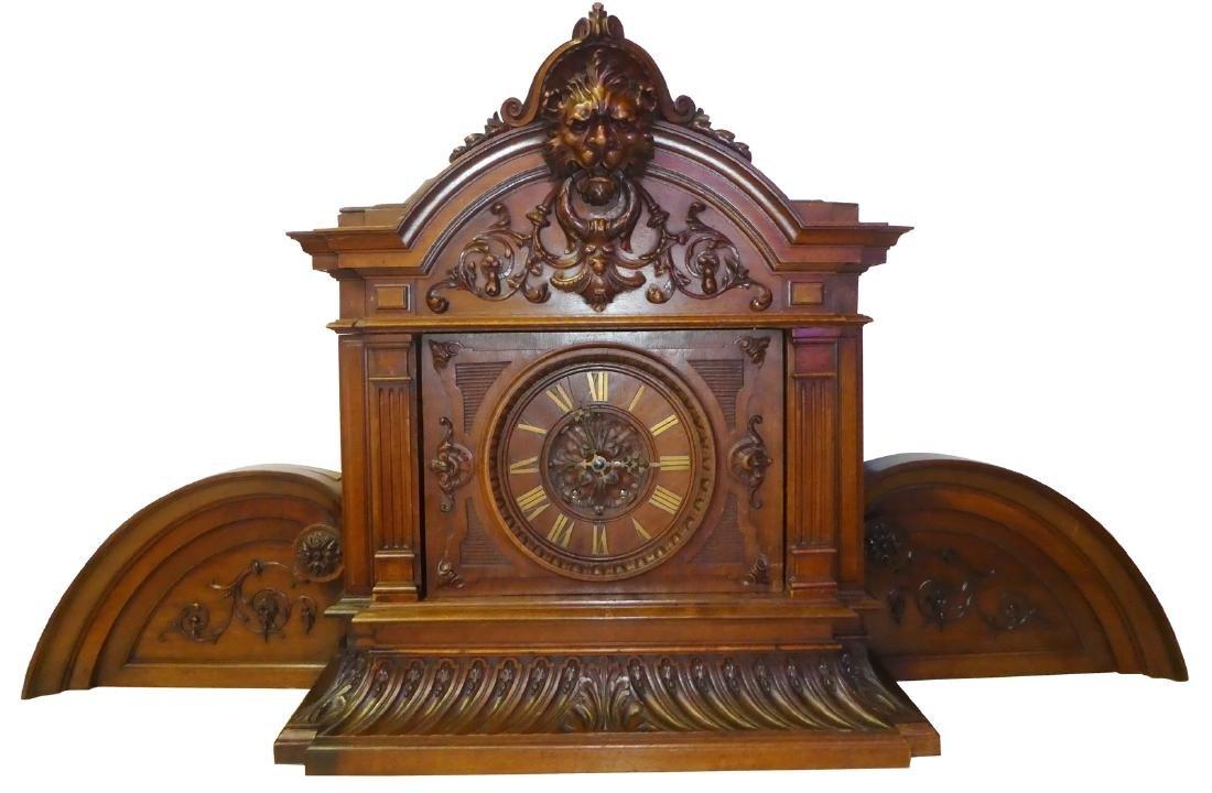 French Renaissance mantel clock in walnut