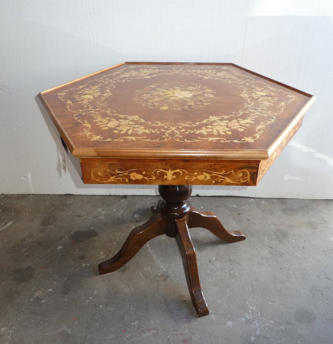 Italian marquetry hexagonal convertible game table