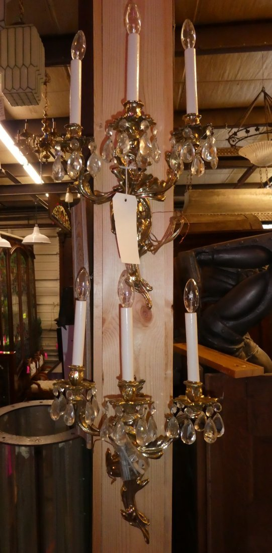 Pair French Louis XV 3 arm bronze wall sconces