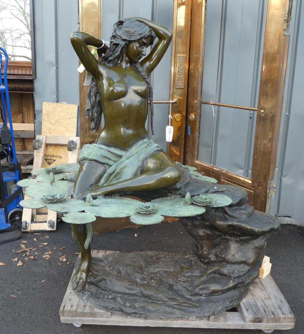 Bronze figural lady fountain with lilypads