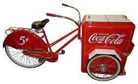 Restored Coca-Cola bicycle with cooler