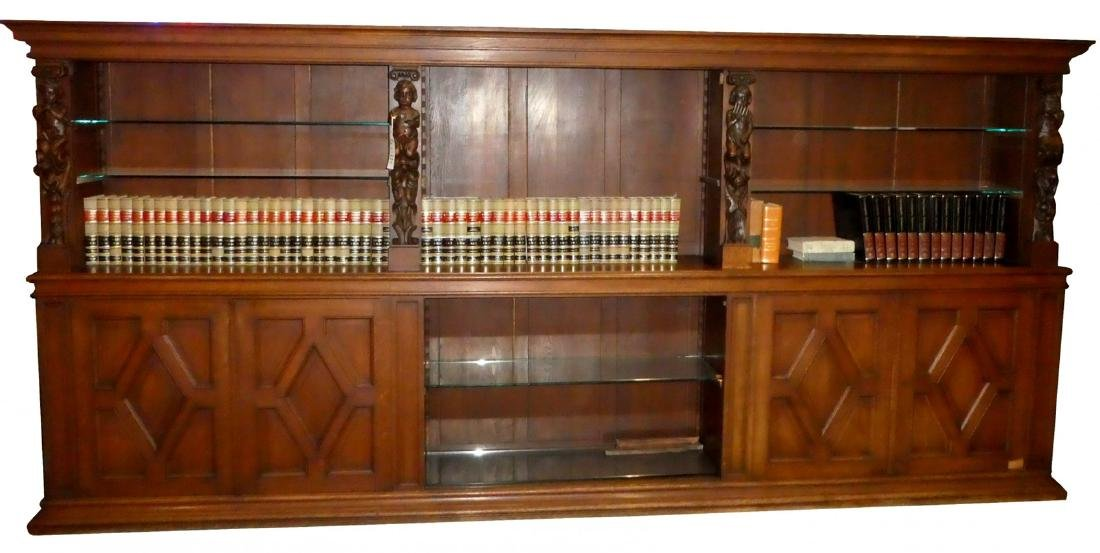 Bavarian carved oak open top bookcase