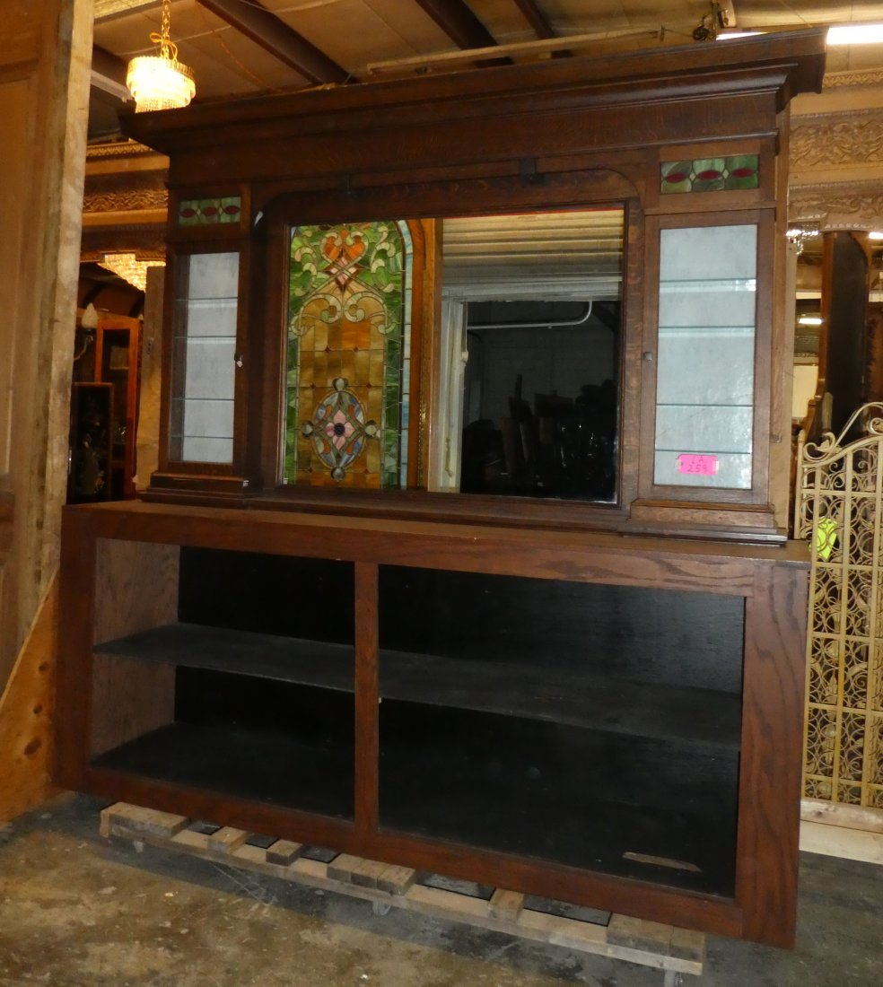 American soda fountain back bar with stained glass