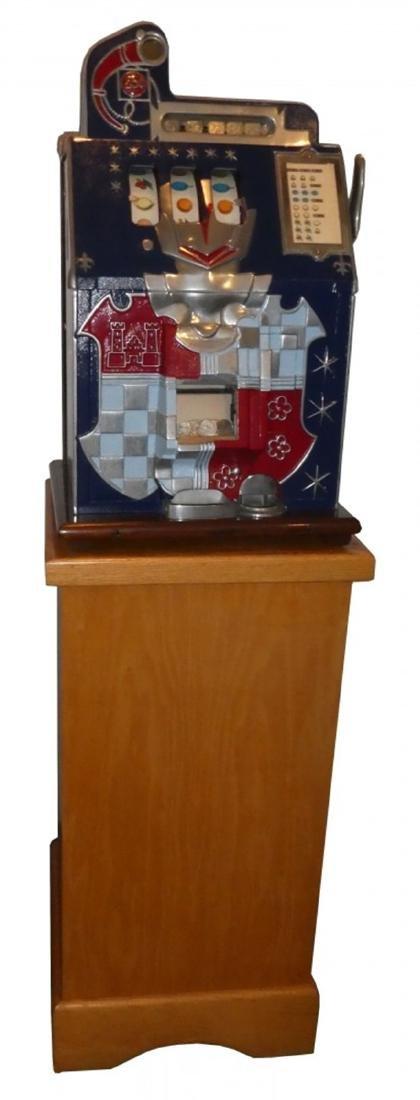 Restored Mills 25cent castle slot machine on stand