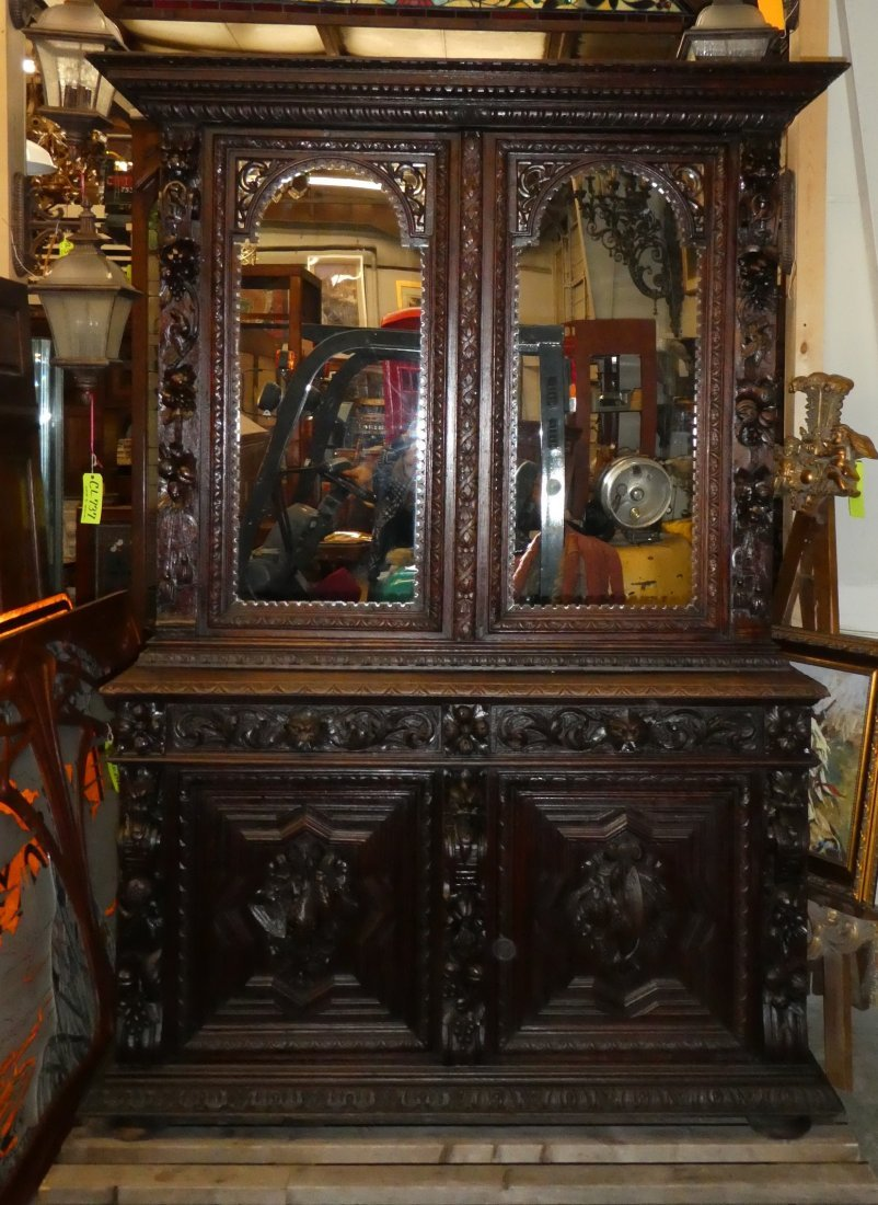 French carved oak hunt buffet